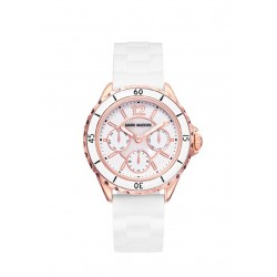 RELOJ MARK MADDOX MUJER ACERO IP ROSE SILICONA BLANCA CALENDARIO DAY / DATE-MC0016-05