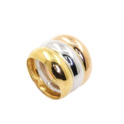 ANILLO ORO LEY TRICOLOR TRIPLE MEDIA CAÑA LISO BRILLANTE