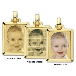 COLGANTE CHAPA ORO 9 KILATES PERSONALIZABLE RECTANGULAR 30 X 24 MM.