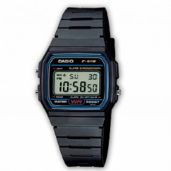RELOJ F-91W-1YER CASIO COLLECTION DIGITAL CAUCHO NEGRO