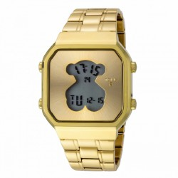 RELOJ TOUS DIGITAL D-BEAR SQ ACERO IP DORADO