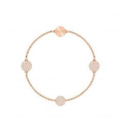 PULSERA SWAROVSKI DISK REMIX COLLECTION, BLANCO, BAÑO DE ORO ROSA