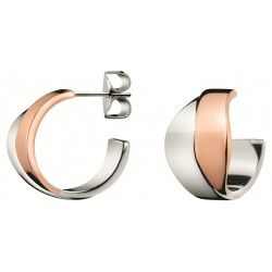 PENDIENTES CALVIN KLEIN SENSES ACERO BICOLOR IP ROSE