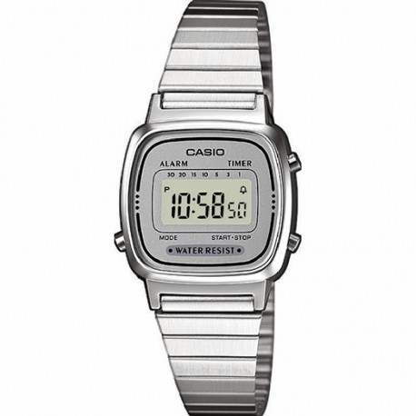 RELOJ CASIO DIGITAL MUJER COLLECTION ACERO Y RESINA PLATEADA
