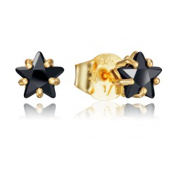 PENDIENTES VICEROY JEWELS PLATA IP ORO CIRCONITA NEGRA  6 MM.