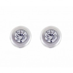 PENDIENTES ORO BLANCO CHATON CON DIAMANTE-B507/0.12