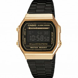 RELOJ A168WEGB-1BEF CASIO DIGITAL COLLECTION RESINA ACERO IP NEGRO DORADO