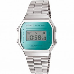 RELOJ A168WEM-2EF CASIO DIGITAL COLLECTION RESINA Y ACERO PLATEADO