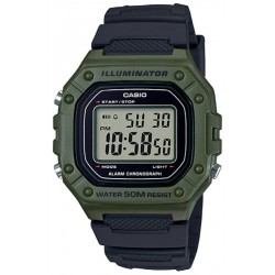 RELOJ W-218H-3AVEF CASIO COLLECTION RETRO DIGITAL RESINA VERDE Y NEGRA-W-218H-3AVEF