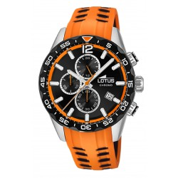 RELOJ LOTUS COLOR CHRONO ACERO CORREA RACING CAUCHO NARANJA