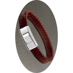 PULSERA LOTUS STYLE MEN BASIC CUERO TRENZADO MARRON